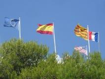 Cinco bandeiras aumentadas com o sol foto de stock royalty free