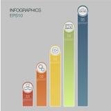 Cinco bandeiras do número, gráfico de negócio, colunas dos dados da cor com 5 opções, design web ilustração stock
