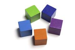 Cinco blocos em um círculo Fotos de Stock Royalty Free