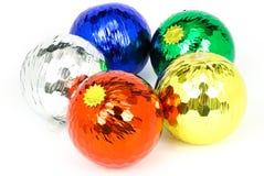 cinco bolas coloridas de la Navidad Imagen de archivo