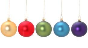 Cinco bolas de la Navidad Fotos de archivo