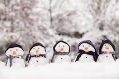 Cinco bonecos de neve bonitos que enfrentam para a frente Fotografia de Stock Royalty Free
