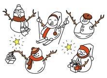 Cinco bonecos de neve engraçados na garatuja ilustração royalty free