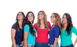 Cinco bons amigos que olham acima Imagens de Stock Royalty Free