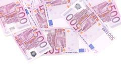 Cinco cédulas do euro das centenas. Imagem de Stock