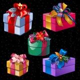 Cinco caixas de cores e de formas diferentes Foto de Stock Royalty Free