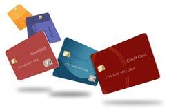 Cinco cartões de crédito em várias cores flutuam através do ar nesta imagem ilustração royalty free