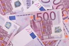 Cinco cem euro- fundos das cédulas. Imagem de Stock