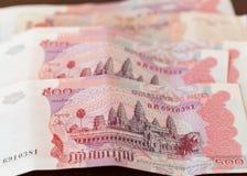 Cinco cem notas do riel de Cambodia Fotos de Stock
