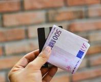 Cinco centenas 500 cédulas do Euro Imagens de Stock Royalty Free