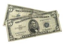 Cinco certificados de prata velhos do dólar Imagens de Stock Royalty Free