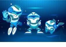 Cinco chatbots em poses e em humores diferentes Projeto de Digitas no estilo dos desenhos animados Tom azul Ilustração do vetor ilustração stock