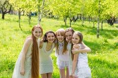 Cinco chicas jóvenes hermosas en los vestidos blancos en verano Imágenes de archivo libres de regalías