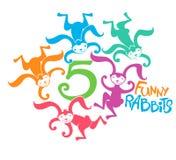 Cinco coelhos engraçados Imagens de Stock Royalty Free