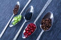 Cinco colheres com alimento e especiarias Foto de Stock Royalty Free
