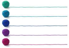 Cinco colores de las bolas del hilado Foto de archivo libre de regalías