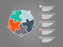 Cinco coloridos tomaram partido molde infographic da apresentação do enigma do círculo Imagens de Stock Royalty Free