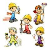 Cinco construtores ajustados Imagens de Stock Royalty Free