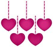 Cinco corazones colgantes Fotos de archivo