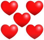 Cinco corazones hermosos con los modelos Imagenes de archivo
