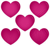 Cinco corazones rosados con los modelos Imagen de archivo libre de regalías