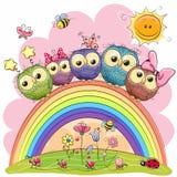 Cinco corujas no arco-íris Imagens de Stock