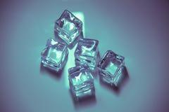 Cinco cubos de gelo coloridos, no fundo neutro imagens de stock royalty free