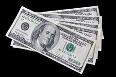 Cinco cuentas en cientos dólares Imágenes de archivo libres de regalías