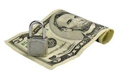 Cinco dólares bajo el candado Imagen de archivo libre de regalías