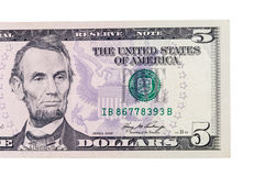 Cinco dólares de billete de banco fotos de archivo