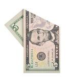 Cinco dólares de conta Imagens de Stock