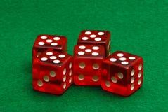 Cinco dados vermelhos Fotografia de Stock Royalty Free