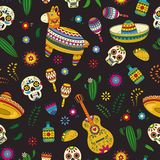 Cinco de马约角庆祝在墨西哥 动画片乱画汇集为与彩饰陶罐, maracas的Cinco de马约角游行反对
