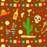 Cinco de马约角无缝的样式 墨西哥假日不尽的背景,纹理 也corel凹道例证向量 免版税库存图片