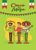 Cinco De马约角海报设计 被设置的墨西哥人字符 导航与拷贝空间的模板您的假日庆祝的 皇族释放例证