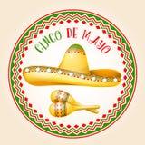 Cinco de马约角象征-墨西哥阔边帽和maracas 库存照片