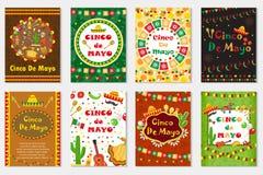 Cinco de马约角集合贺卡,飞行物的,海报,邀请模板 与传统标志的墨西哥庆祝 免版税库存照片