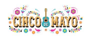 Cinco de马约角-联邦假日5月5,在墨西哥 节日与旗子的横幅和海报设计 向量例证