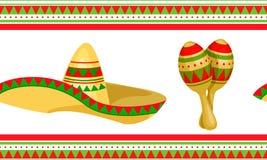Cinco de马约角墨西哥欢乐无缝的样式 向量例证
