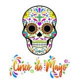 Cinco de Maya isolou a ilustração no fundo branco Cr?nios mexicanos do a??car, dia dos mortos ilustração do vetor
