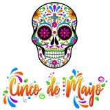 Cinco de Maya isolou a ilustra??o no fundo branco Cr?nios mexicanos do a??car, dia dos mortos ilustração do vetor