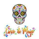 Cinco de Maya isolou a ilustra??o no fundo branco Cr?nios mexicanos do a??car, dia dos mortos ilustração royalty free