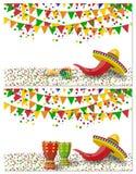 cinco de mayo Δύο ιπτάμενα, κάρτες Maracas, τύμπανο πράσινο και κόκκινο, σημαίες, κόκκινο πιπέρι στις διακοπές απεικόνιση Στοκ φωτογραφία με δικαίωμα ελεύθερης χρήσης