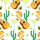 cinco de mayo 5ος του Μαΐου Guitarrone, κάκτος, taco, αβοκάντο, Μαργαρίτα - clipart στις εθνικές μεξικάνικες διακοπές άνευ ραφής ελεύθερη απεικόνιση δικαιώματος