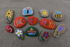 Cinco de Mayo, σύνθεση σχεδίου πετρών Στοκ εικόνα με δικαίωμα ελεύθερης χρήσης