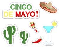 Cinco de Mayo. Σύνολο αυτοκόλλητων ετικεττών. Στοκ Εικόνες