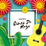 Счастливая поздравительная открытка Cinco de Mayo Бумажный вентилятор, кактус в бумажном отрезанном стиле Мексика, масленица Квад иллюстрация вектора