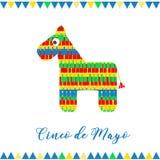 cinco de mayo Иллюстрация вектора для поздравительной открытки Пестротканая лошадь среди confetti Стоковые Изображения
