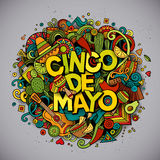 cinco de mayo Иллюстрация Doodle вектора шаржа нарисованная рукой Стоковые Изображения