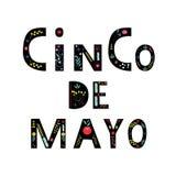 Cinco de mayo помечая буквами текст с элементами цветка r Цитата оформления для поздравительной открытки, плаката, иллюстрация вектора